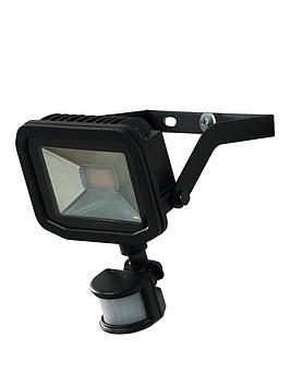 Product photograph showing Luceco Slim Floodlight With Pir 15w 5000k 1200lm - Black