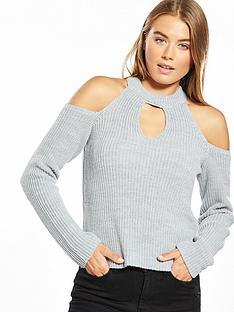 miss-selfridge-cross-strap-jumper-grey