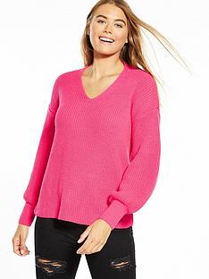 miss-selfridge-twist-back-balloon-sleeve-jumper-pink