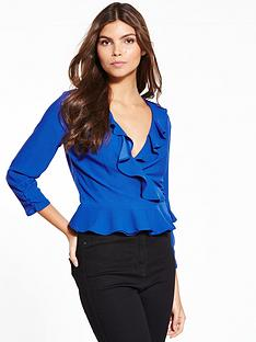 miss-selfridge-cobalt-ruffle-wrap-blouse