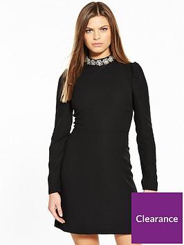 warehouse-embellished-collar-dress