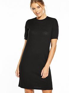 warehouse-knitted-t-shirt-dress-black