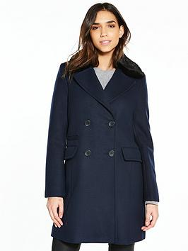 warehouse-warehouse-double-breasted-faux-fur-collar-coat