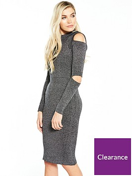 warehouse-ribbed-slash-sleeve-dress-grey-marl