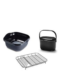 addis-addis-premium-washing-up-bowl-compost-food-caddy-amp-wire-dish-drainer-black-grey