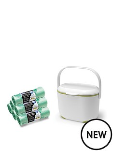 addis-addis-premium-food-waste-compost-caddy-with-120-compost-liners-white-amp-green