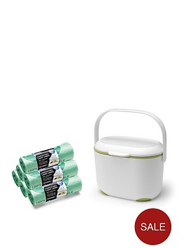 addis-premium-food-waste-compost-caddy-with-120-compost-liners-white-amp-green