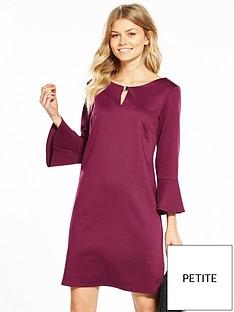 wallis-petite-flute-sleeve-ponte-dress-berry