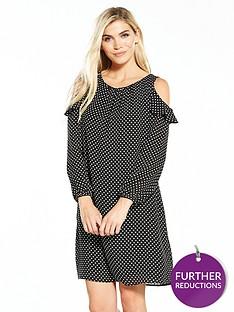 wallis-spot-cold-shoulder-dress-mono