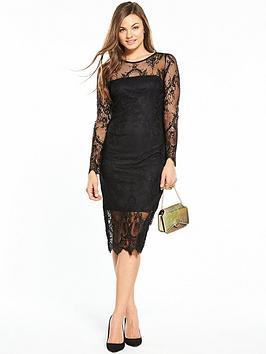 wallis-scallop-lace-shift-dress-black