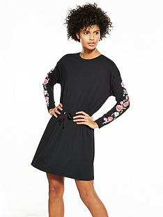 v-by-very-embroidered-sleeve-day-dress-black