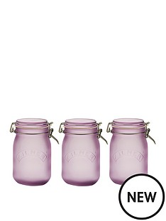 kilner-frosted-clip-top-jars-set-of-3-1l