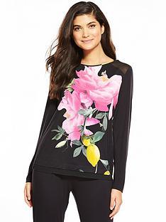 b-by-ted-baker-citrus-bloom-revere-jersey-pyjama-top-black