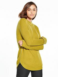 warehouse-ribbed-zip-side-knitted-jumper