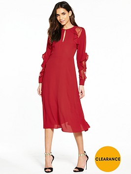 warehouse-ruffle-lace-midi-dress