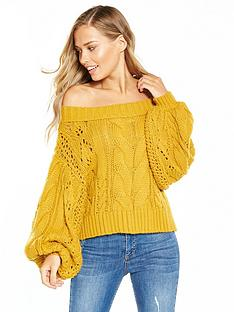 miss-selfridge-pointelle-bardot-jumper