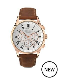 sekonda-sekonda-chronograph-style-brown-leather-strap-mens-watch