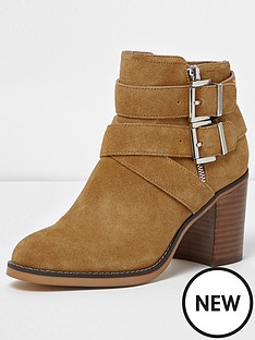 river-island-river-island-polo-suede-heeled-buckle-western-boot