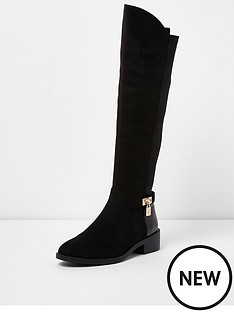 river-island-river-island-flat-knee-high-padlock-boot