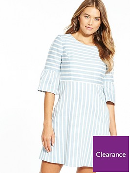 boss-fluted-sleeve-stripe-dress
