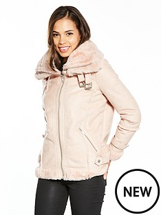 river-island-river-island-faux-fur-collar-aviator-coat--pink