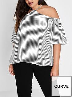 ri-plus-stripe-cold-shoulder-top