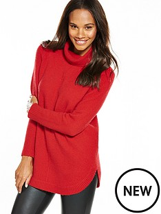 wallis-compact-curve-hem-jumper-red