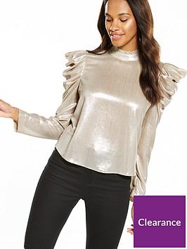 miss-selfridge-metallic-long-sleeve-high-neck-top