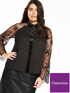 lost-ink-plus-shirt-with-lace-sleeve-black