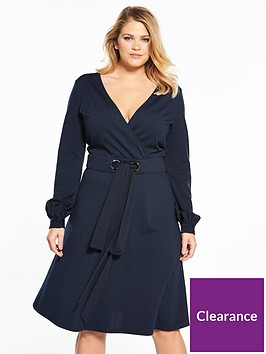 lost-ink-plus-lost-ink-curve-fit-and-flare-dress-with-double-tie