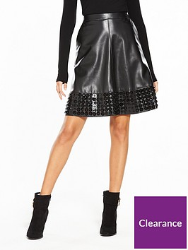 lost-ink-embellished-hem-pu-flare-skirt-black