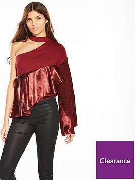 lost-ink-one-shoulder-satin-trim-top-burgundy