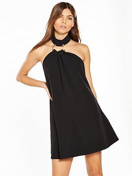 lost-ink-metal-ring-swing-dress-black