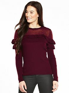 v-by-very-mesh-yoke-crew-neck-frill-deail-jumper