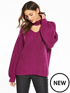 v-by-very-choker-rib-jumper