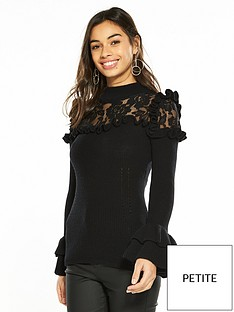 v-by-very-petite-lace-yoke-knitted-jumper-black