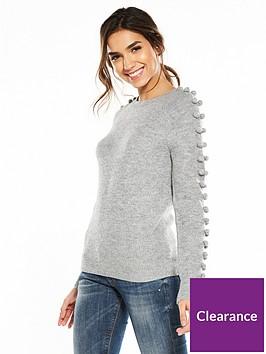 v-by-very-pom-pom-sleeve-detail-jumper-grey-marl