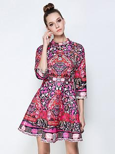 comino-couture-comino-couture-long-sleeve-pink-paisley-skater-dress