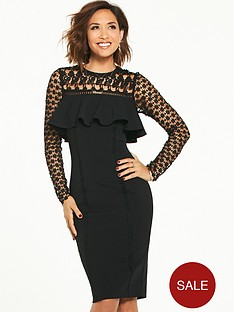 myleene-klass-lace-yoke-frill-pencil-dress-black