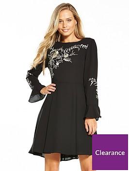oasis-kimono-embroidered-dress-black
