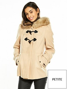 miss-selfridge-petite-stone-duffle-coat