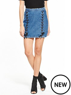v-by-very-ribbon-lace-up-denim-skirt