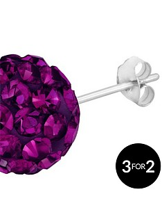 love-silver-sterling-silver-crystal-glitterball-studs-10mm