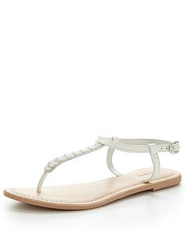 v-by-very-melodie-leather-embellished-toe-post-sandal-white