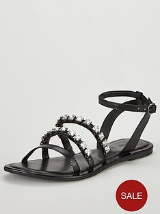 v-by-very-aphrodite-embellished-strappy-flat-sandal-black