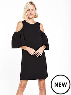 river-island-cold-shoulder-dress--black