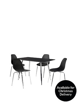 ideal-home-san-fran-120-cm-dining-table-4-chairs-black