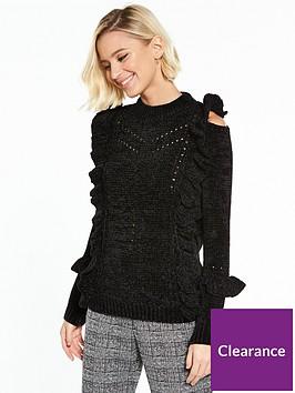 river-island-river-island-chenille-cable-knit-frill-jumper-black