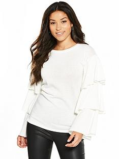 v-by-very-tiered-sleeve-snit-top-ivory