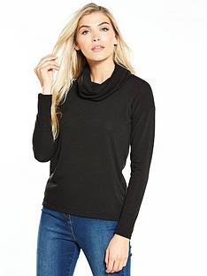 v-by-very-cowl-neck-snit-top-black
